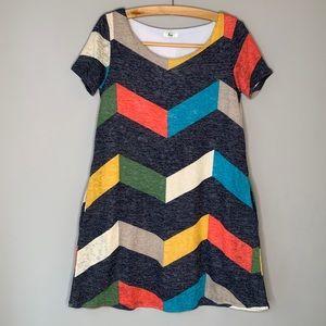 Egs Chevron color block A-line swing dress pockets